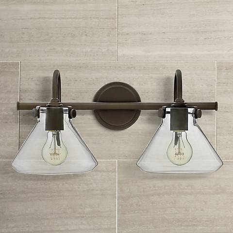 "Congress 19 1/4""W Clear Glass Oil Rubbed Bronze Bath Light"