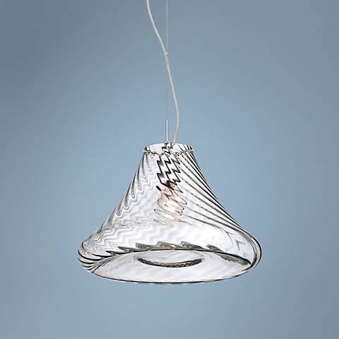 "Eurofase Bloor 15"" Wide Chrome Rippled Glass Pendant"