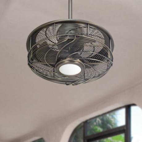 casa vestige antique bronze cage led ceiling fan 5d998 lamps plus. Black Bedroom Furniture Sets. Home Design Ideas