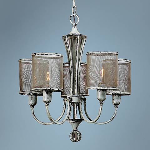 "Uttermost Pontoise 24"" Wide Antique Ivory Chandelier"