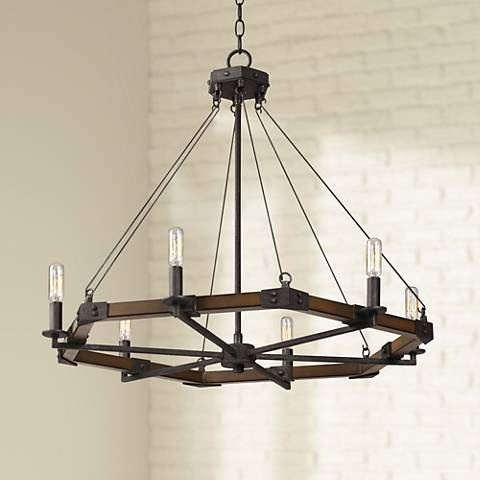 "Blacksmith Collection 32"" Wide Iron Chandelier"