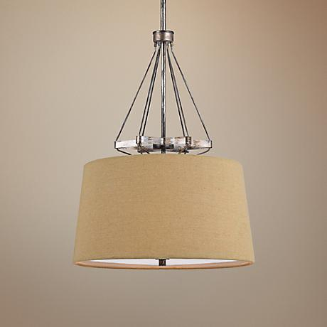 "Cresco Collection 20"" Wide Textured Steel Pendant"