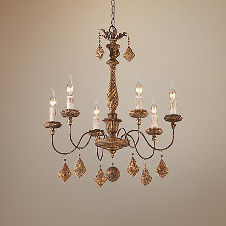 "Calais Collection 26"" Wide Antique French Gold Chandelier"