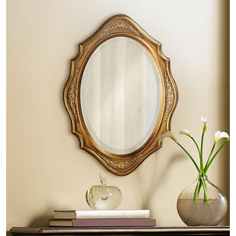 "Howard Elliott Trafalga 19"" x 27"" Gold Leaf Wall Mirror"