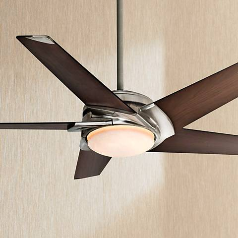 "54"" Casablanca Stealth Nickel Walnut Finish LED Ceiling Fan"