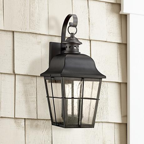 "Quoizel Millhouse 18"" High Black Outdoor Wall Light"