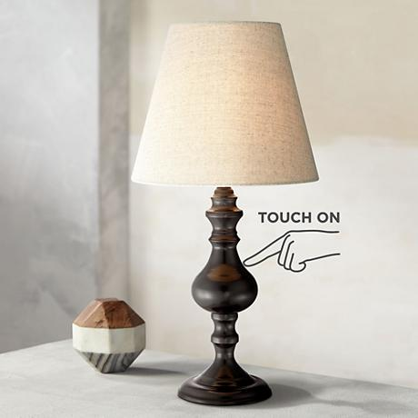 "Ted Dark Bronze 18 1/2"" High Touch On-Off Accent Table Lamp"