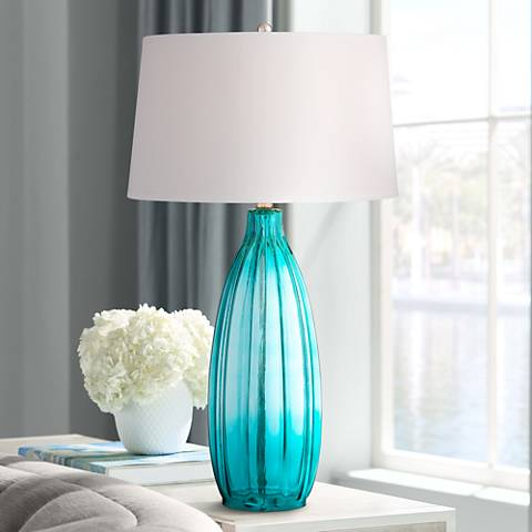 Stella Blue Fluted Glass Table Lamp