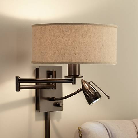 Possini Euro Radix Plug-In Tiger Bronze Swing Arm Wall Lamp