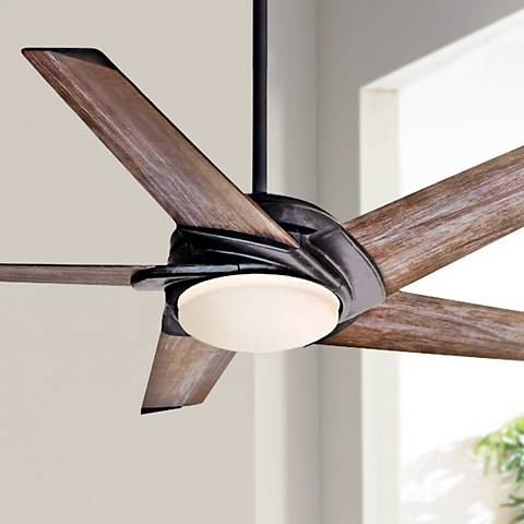 "54"" Casablanca Stealth Aged Steel LED Ceiling Fan"