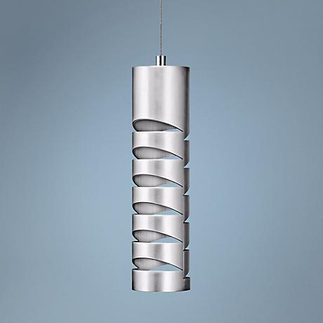 "Elan Rakz 10 1/2"" High Brushed Aluminum Mini Pendant"