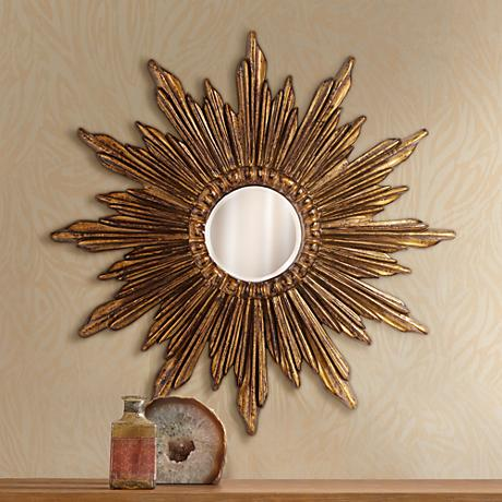 "Calpella Dark Gold 29 1/4"" Round Sunburst Wall Mirror"