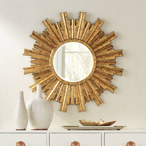 "Arganda Bright Gold Sunburst 33"" Round Wall Mirror"