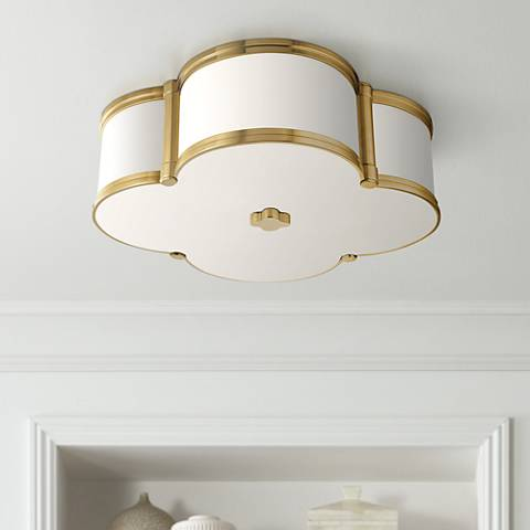 "Hudson Valley Chandler 16 3/4""W Aged Brass Ceiling Light"
