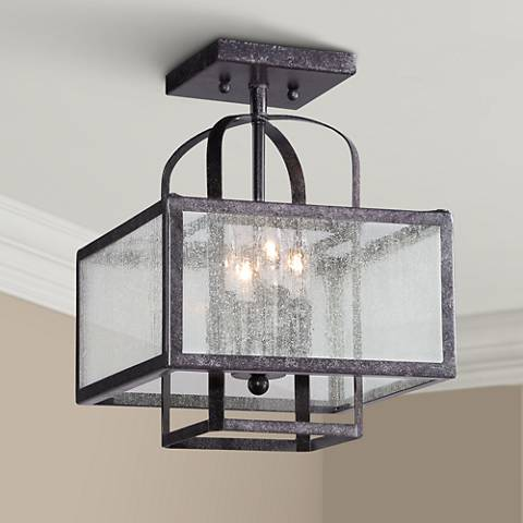 "Minka Camden Square 11"" Wide Charcoal Ceiling Light"