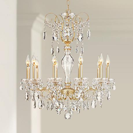 "Schonbek Sonatina 25 1/2"" Wide Gold Crystal Chandelier"