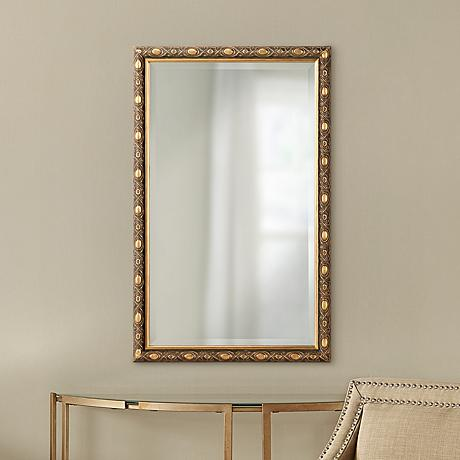 "Luckey Antique Gold 21"" x 33"" Wood Wall Mirror"