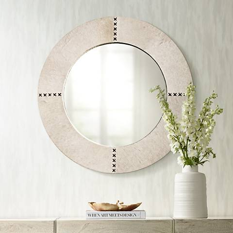 "Jamie Young Cross Stitch 36"" Round White Hide Wall Mirror"