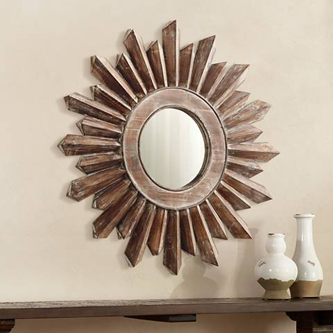 "Excalibur 34 3/4"" Round Large Sunburst Wall Mirror"