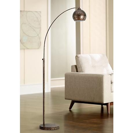 Friedmond Rust Metal Arc Floor Lamp