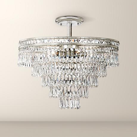 "Crystorama Mercer 20"" Wide Crystal Silver Ceiling Light"