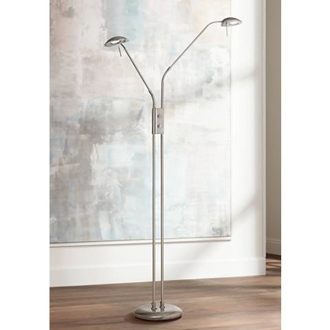 Casper Brushed Steel 2-Light LED Pharmacy Floor Lamp