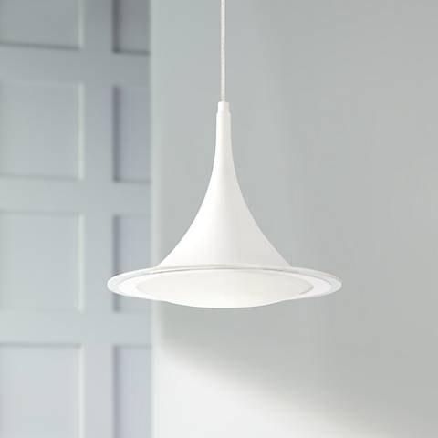 "Possini Euro Ponder 12 1/2"" Wide White LED Pendant Light"