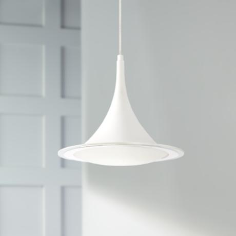 Possini euro ponder 12 1 2 wide white led pendant light for Possini lighting website