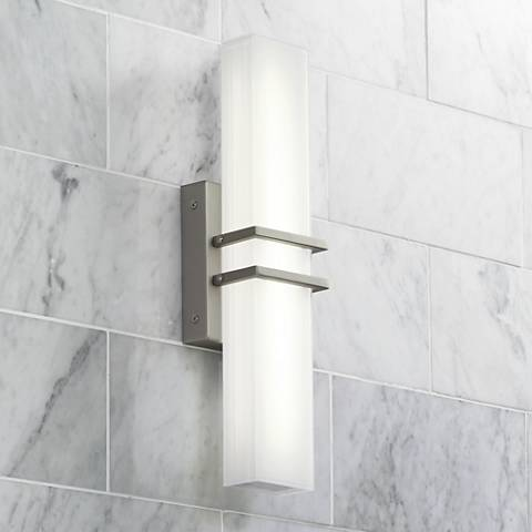 "Possini Euro Exeter 17"" Wide LED Nickel Bathroom Light"
