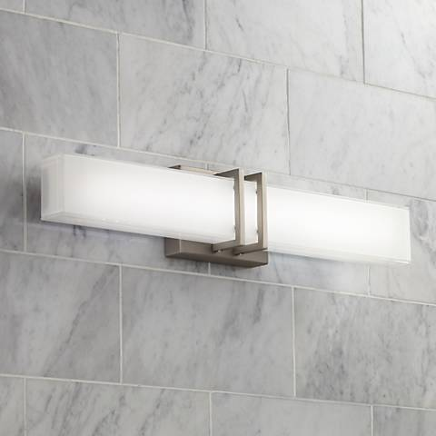 Possini Euro Exeter 24 Wide Led Nickel Bathroom Light 5t767 Lamps Plus