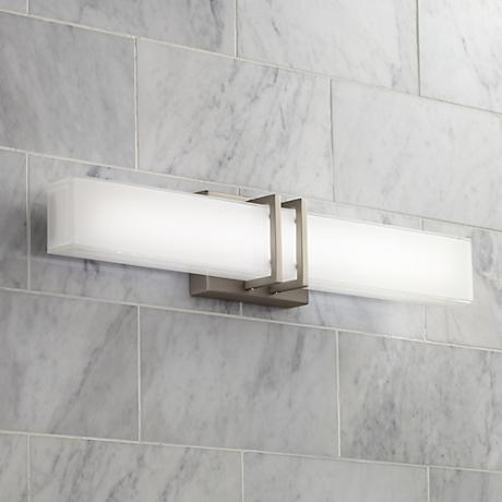"Possini Euro Exeter 24"" Wide LED Nickel Bathroom Light"