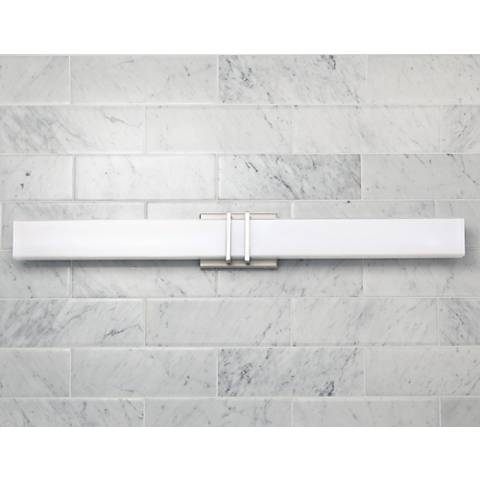 "Possini Euro Exeter 36"" Wide LED Nickel Bathroom Light"