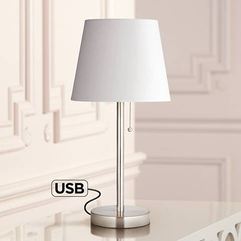 Flesner Brushed Steel Accent Table Lamp with USB Port
