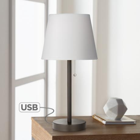 flesner bronze accent table lamp with usb port 5v412 www. Black Bedroom Furniture Sets. Home Design Ideas
