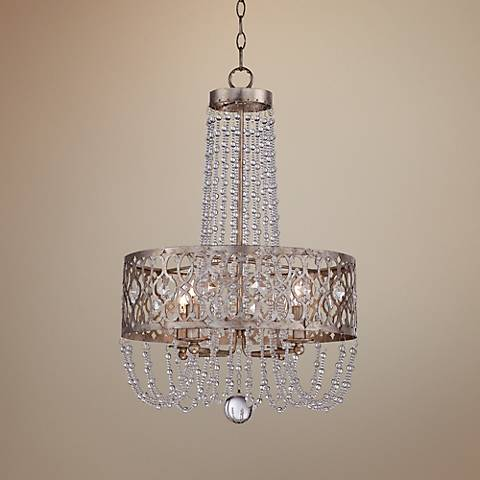 "Jessica McClintock Lucero 18"" Wide Silver Gold Pendant Light"