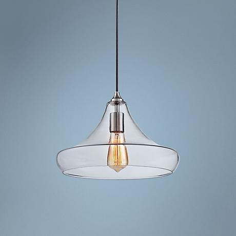 "Urban Contemporary 13 1/4"" Wide Clear Glass Pendant Light"