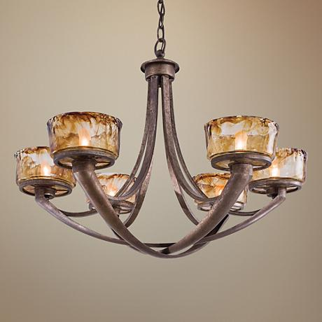 "Minka La Bohem 30"" Wide 6-Light Bronze Chandelier"