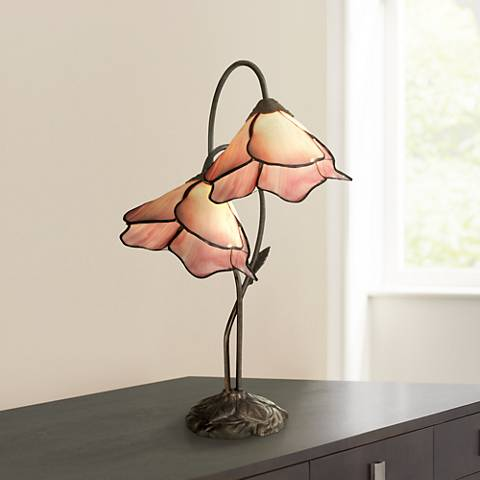 Dale Tiffany Poelking Pink Lily Glass 2-Light Desk Lamp