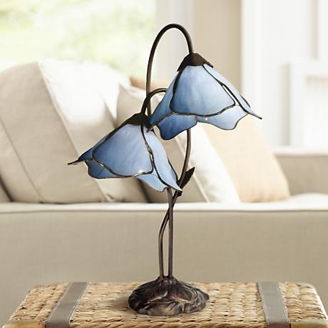 Dale Tiffany Poelking Blue Lily Glass 2-Light Desk Lamp