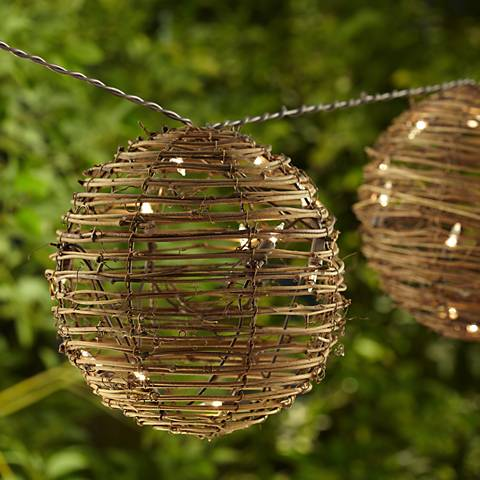 Rattan 3-Ball Party String Lights