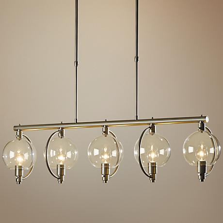 "Hubbardton Forge Pluto 42""W Clear Glass 5-Light Pendant"