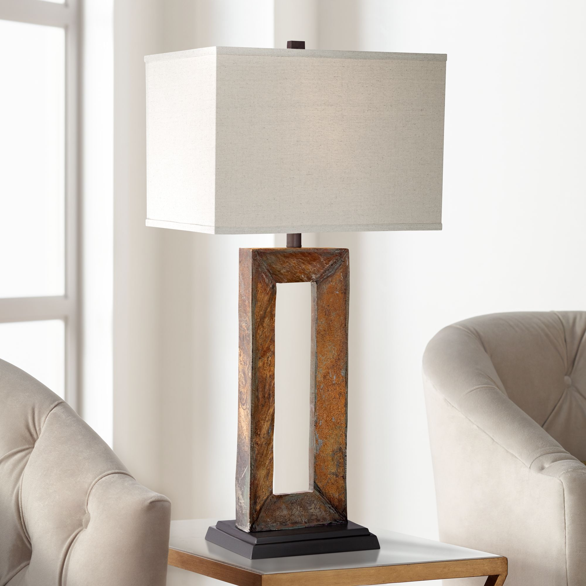 Perfect Taos Large Rectangular Slate Table Lamp
