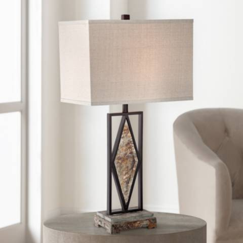Taos Diamond Slate Table Lamp By Franklin Iron Works