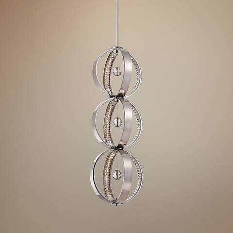 "Metropolitan Winter Solstice 13"" Wide Nickel LED Pendant"