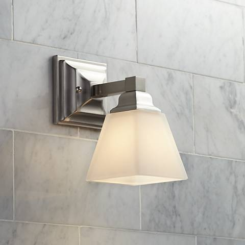 "Mencino Satin Nickel 9"" High Wall Sconce"