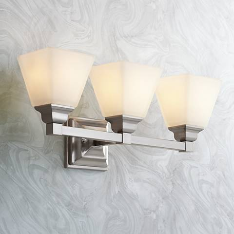 "Mencino Satin Nickel 3-Light 20"" Wide Bath Light"