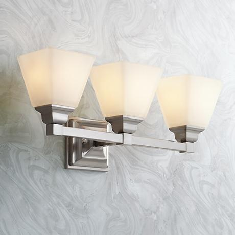 Mencino Satin Nickel 3 Light 20 Wide Bath Light 5y949 Lamps Plus