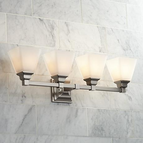 "Mencino Satin Nickel 4-Light 28"" Wide Bath Light"