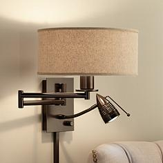 possini euro radix plug in tiger bronze swing arm wall lamp - Designer Wall Lamps