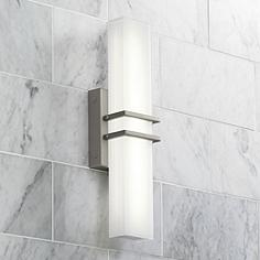 Possini Euro Exeter 17 High Led Nickel Bathroom Light